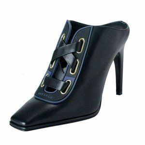Versace Black Leather High Heel Mules Shoes